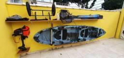 Caiaque duplo New foca com motor Jet turbo pantaneiro 3,5 HP<br>