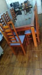mesa de madeira maçiça  8 cadeira