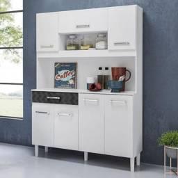 Kit Cozinha 7 Portas Magazin 120 Cm Branco Preto