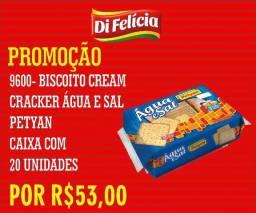 Confira o nosso biscoito cream cracker agua e sal petyan 20x400g por R$ 53,00