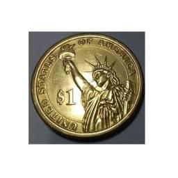 Moeda banhada a ouro 18k de 1 dólar:comemorativa Linconl