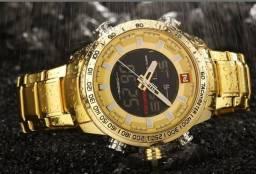 Relógio a Prova d'água Original Naviforce Business Men - Dourado (Aceito cartão)
