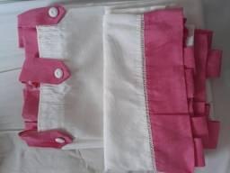Cortina infantil rosa/palha