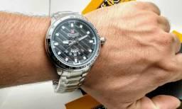 3faca38972e Relógio Masculino De Aço Prata Original