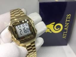 513d55ea6d7 Relógio dourado digital unissex Atlantis com luz interna