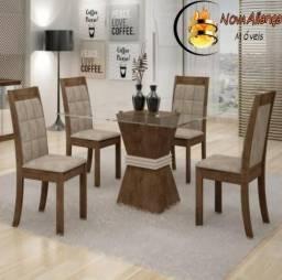 Mesa de Jantar Tampo de Vidro 4 cadeiras Londres- Faça seu Pedido 97970-4415 fdeaea5a8d