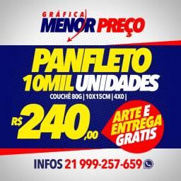 Dez Mil Panfletos 10cm x 14cm + Arte e Entrega Grátis