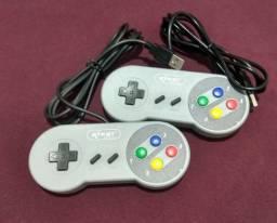 Kit 2 Controles USB estilo Super Famicom