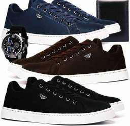 Kit 3 sapatênis casual leve preto marrom, azul com relógio e carteira