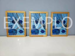 Trio de quadros A4 com moldura e vidro