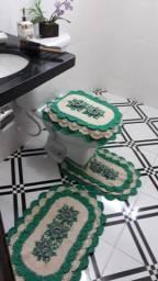 Tapetes de crochê jogo banheiro