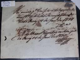 Raro recibo antigo de 1797 para coleção