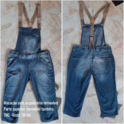 Macaquito jeans TNG com suspensório e parte superior removível