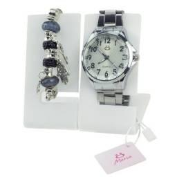 Relógio Analógico Feminino em Aço Rma115 Preto + Pulseira de Brinde