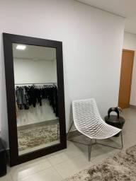 Espelho chão 100x200h couro café - designer assinado