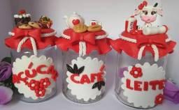 Potes decorados em biscuit para sua cozinha