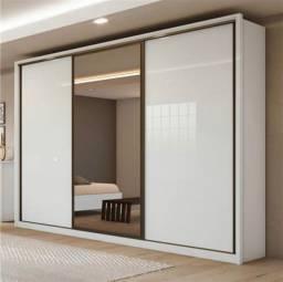 Guarda roupa casal com 3 portas de correr spazio glass