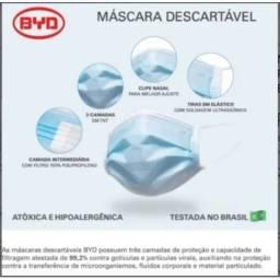 Máscara Descartável Proteção Facial Tripla 50uni AZUL