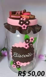 Pote decorado em biscuit para Biscoito
