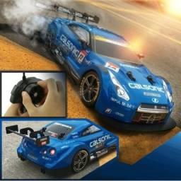 Carrinho Com Controle Remoto Super GT-R Calsonic Drift/corrida Azul Novo