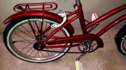 Bicicleta aro20 pneus novos com faixa branca vermelho metálico linda é só andar