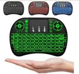 Mini teclado 2.4 Ghz wireless com retroiluminado 3-cores