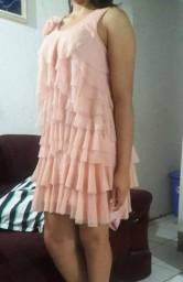 Vendo Vestido Rosê com Babados