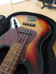 Contra Baixo Eagle Jazzbass Sunburst + Case + Suporte