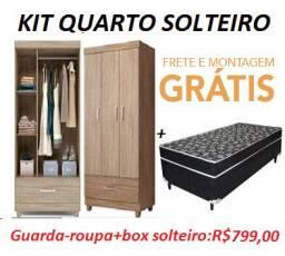 Super Promoção De Kit Quarto Solteiro(Guarda Roupa+Cama)Apenas 849,00