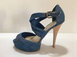 Sandália Salto Alto Azul - Lara - N° 37 - Usado