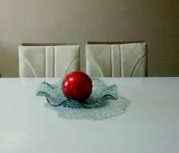 Fruteira/ Centro de Mesa Vidro Frisado e Bola Decorativa Vermelho
