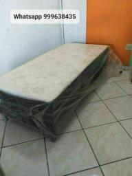 cama box solteiro com colchão conjugado de 10cm de espuma em promoção