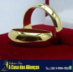 Título do anúncio: Alianças trabalhadas Ouro 18 Kilates Reta ou boleadas 4 mm 5 gramas