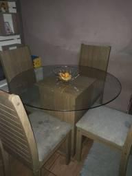Mesa redonda 4 cadeiras tampa de vidro