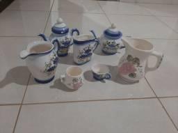 Conjunto Jogo De Chá Café Porcelana 7 Peças Flores
