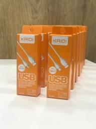 Cabo de dados Kaidi (Tipo lightning, micro USB e tipo C)