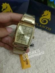 Atlantis Gold G3395 designer quadrado unissex (GARANTIA/ENTREGA GRATUITA)