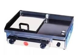 Chapa p/ Lanche c/ Prensa / Hot Dog - Gás -40x60 - Inox - Cód 30