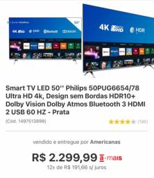 SMART TV LED 50? PHILLIPS ULTRA HD 4K NOVA