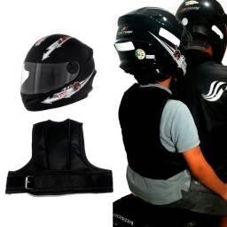 Colete De Segurança Infantil Para Crianças Em Moto - Preto