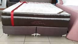:: Conjunto box Gold Ulra Gel Ortobom molas ensacadas Queen 158x188 ligue e confira