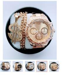 kit de relógios masculino relógio mas cordão aço banhado