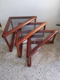 Título do anúncio: Conjunto trio de mesas laterais de madeira e vidro triangulares