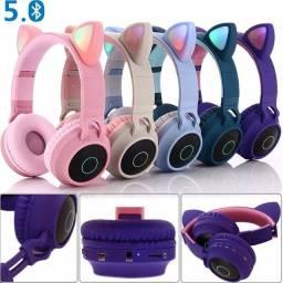 Headphone Orelha Gato Ear Cat Fone Ouvido Led Bluetooth