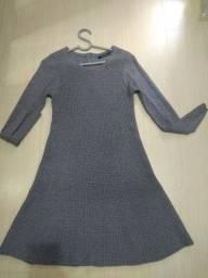 Vestido de lã manga longa cinza