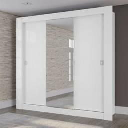 Guarda Roupa Casal Kappesberg Com Espelho 3 Portas De Correr