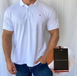 Camisa Camiseta Gola Polo Branca Masculina Premium
