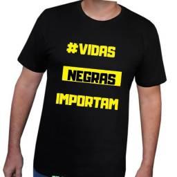 Camisa com frase #vidas negras importam TAM variados