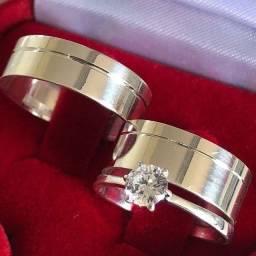 Par de Aliança + anel solitário em prata