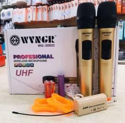 Microfone sem fio UHF elecente qualidade profissional vem com a bateria novo
